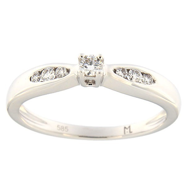 Kullast sõrmus teemantiga 0,14 ct. Kood: 99ak