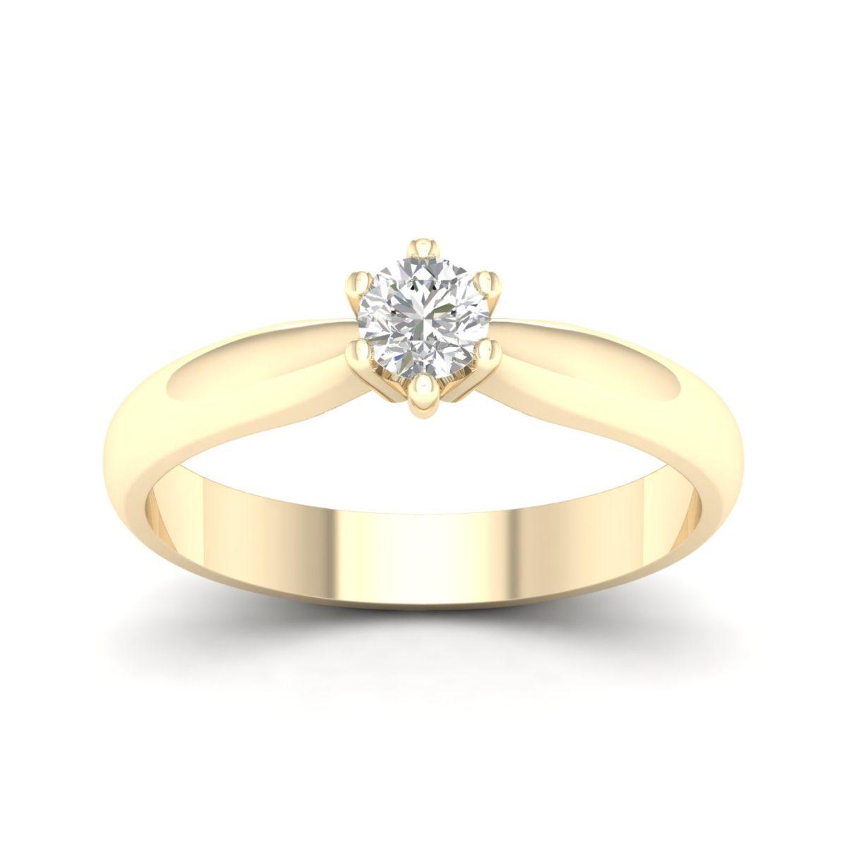 Kullast sõrmus teemantiga 0,20 ct. Kood: 39hb
