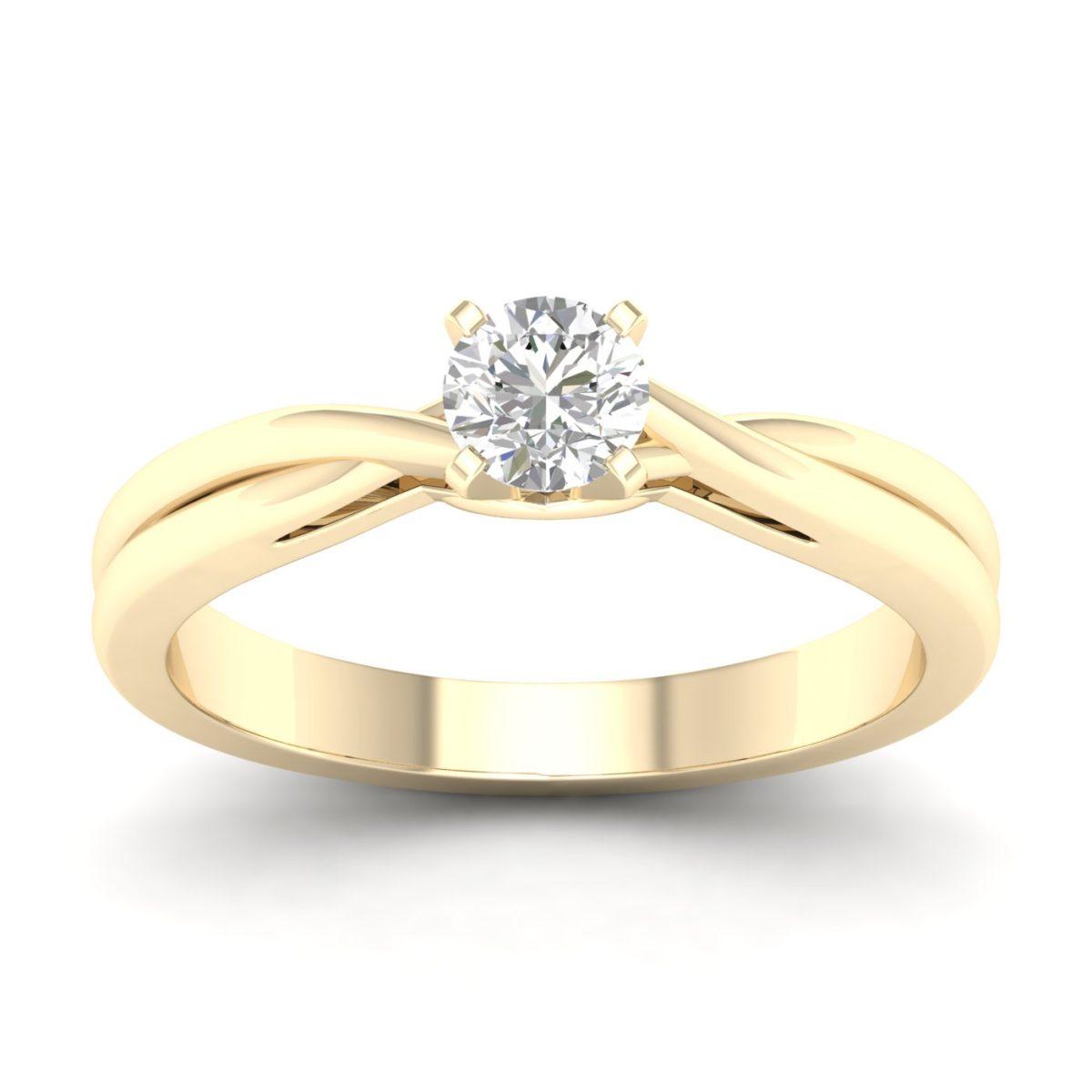 Kullast sõrmus teemantiga 0,33 ct. Kood: 26hb
