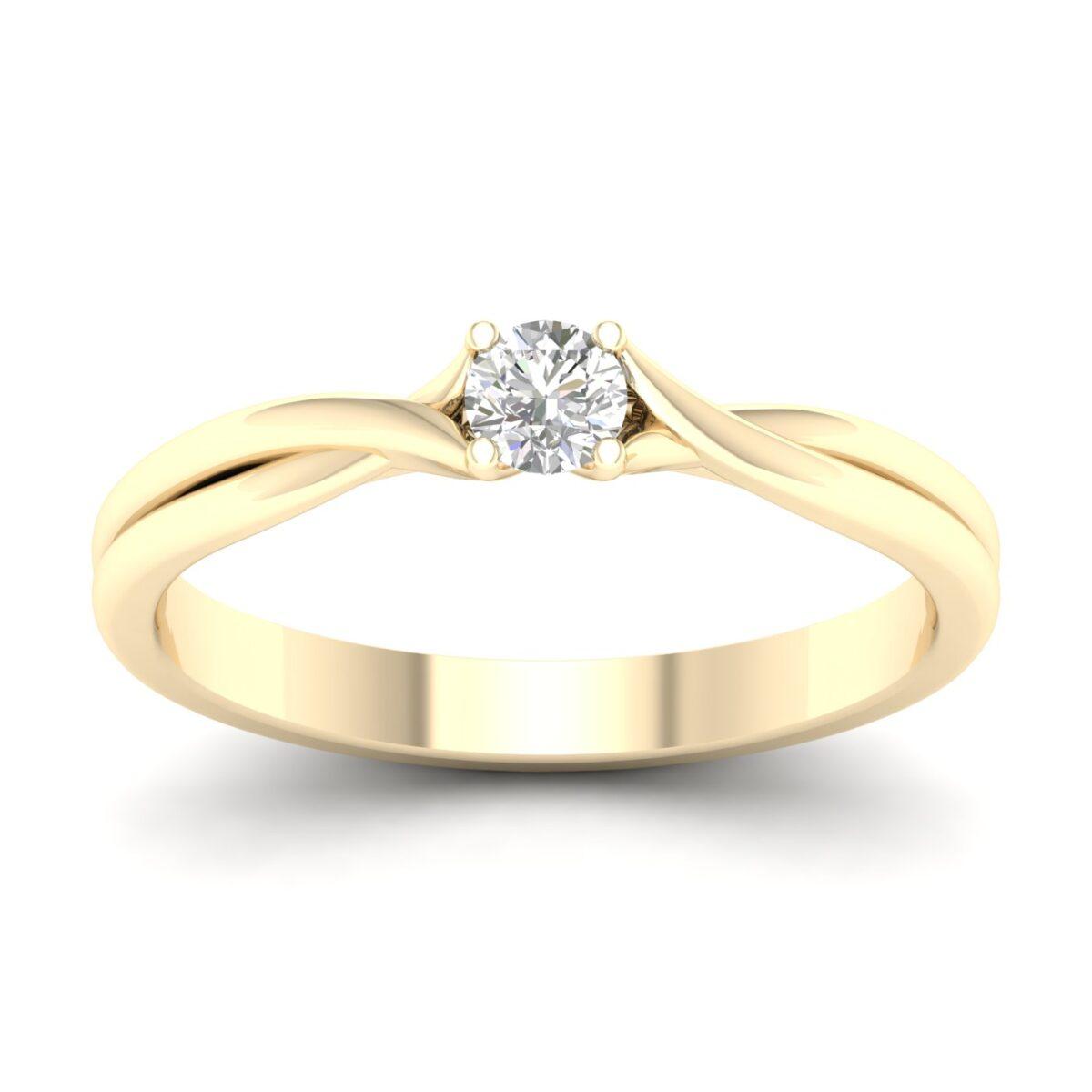 Kullast sõrmus teemantiga 0,15 ct. Kood: 29hb