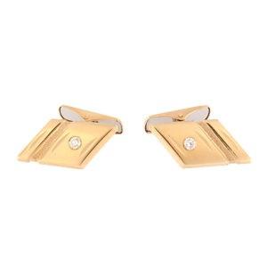 Золотая запонка с бриллиантом Kод: cl0105