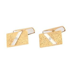 Золотая запонка с бриллиантом Kод: cl0106