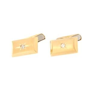 Золотая запонка с бриллиантом Kод: cl0110