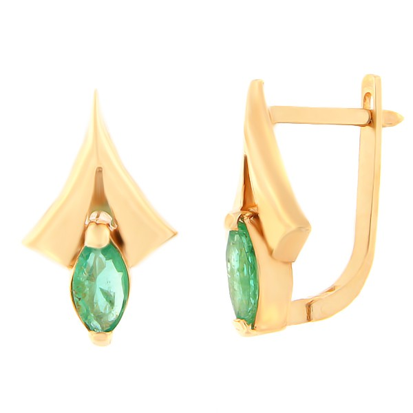 Kullast kõrvarõngad smaragdiga Kood: er0305-smaragd