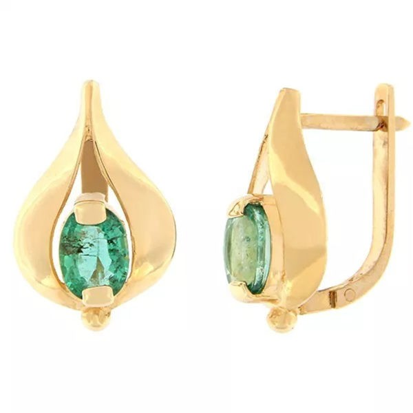 Kullast kõrvarõngad smaragdiga Kood: er0316-smaragd
