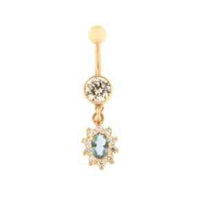 Gold belly button ring with zircon Code: pn0140-d-valge-sinine