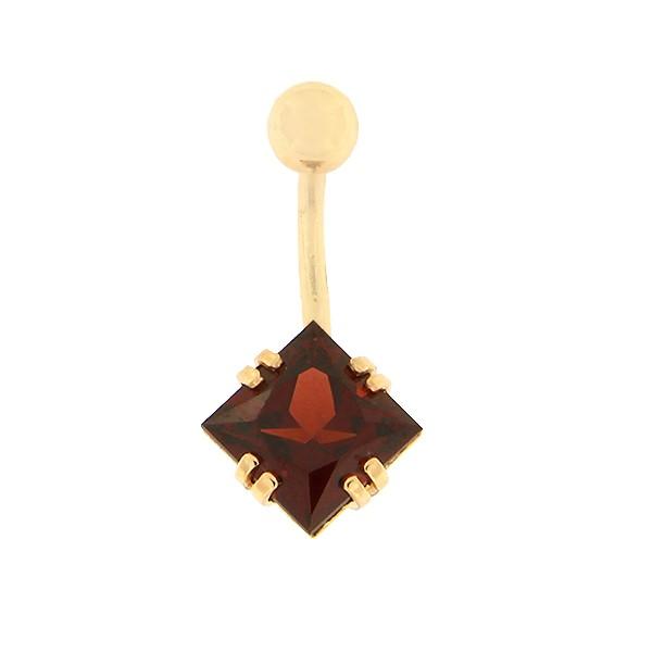 Золотое кольцо в пупок с гранатом Kод: pn0152-granaat