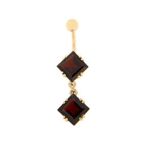 Gold belly button ring with garnet Code: pn0153-granaat