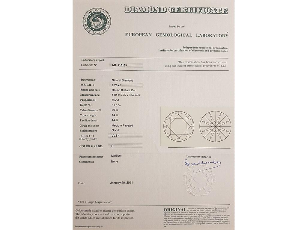 Kullast sõrmus teemantiga 0,76 ct. Kood: 11b sertifikaat