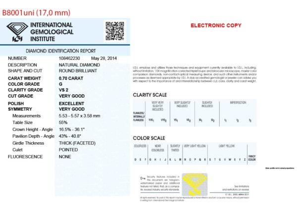 Kullast sõrmus teemandiga 0,70 ct. Kood: b8001uni sertifikaat