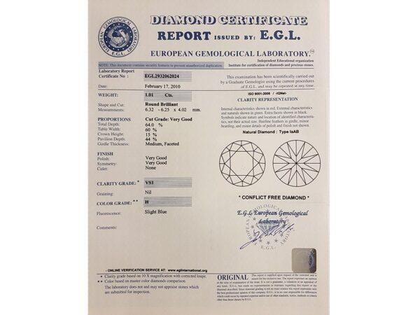 Kullast sõrmus teemantidega 1,78 ct. Kood: 382ad sertifikaat