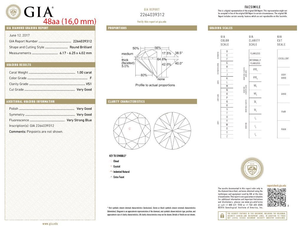 Kullast kihlasõrmus teemandiga 1,00 ct. Kood: 48aa sertifikaat