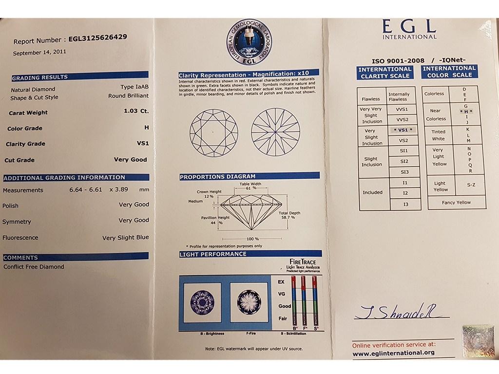 Kullast sõrmus teemantidega 1,73 ct. Kood: 380ad sertifikaat