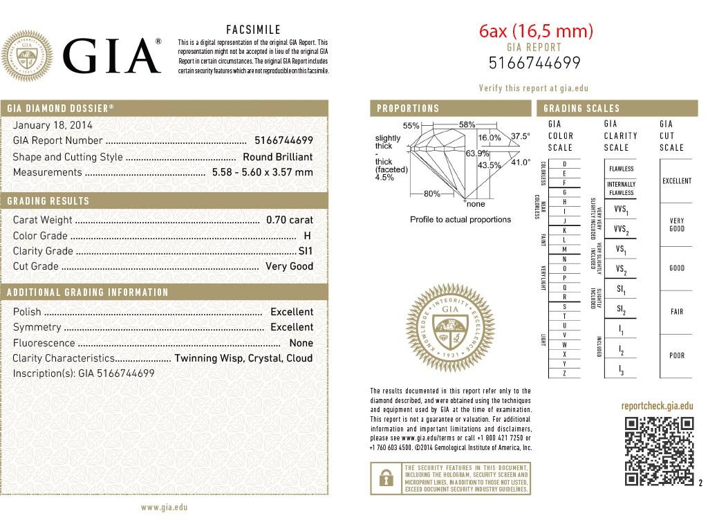Kullast sõrmus teemantidega 0,70 ct. Kood: 6ax sertifikaat 2