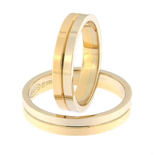 Kullast abielusõrmus Kood: rn0108-4-1/2vl-1/2kl