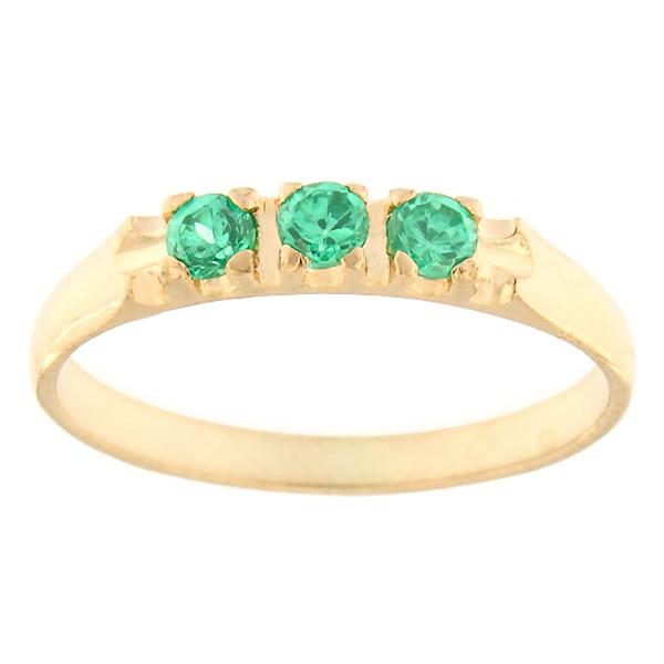 Kullast sõrmus tsirkoonidega Kood: rn0126-roheline