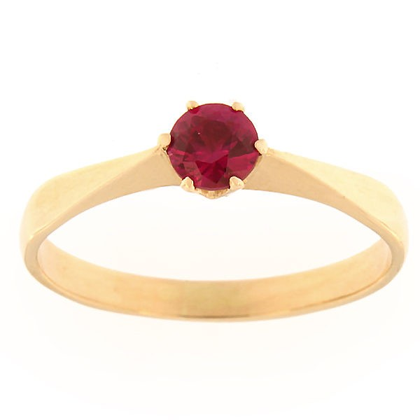 Gold ring with zircon Code: rn0127-punane