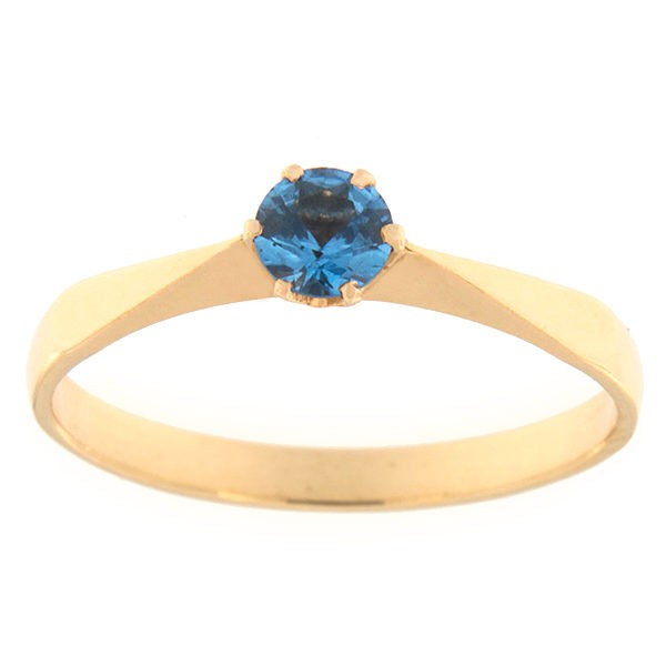 Gold ring with zircon Code: rn0127-sinine