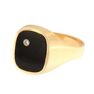 Золотая печатка с ониксом и бриллиантами Kод: rn0203