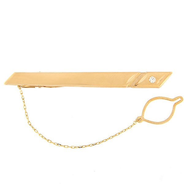 Gold tie pin with diamond Code: tp0109-1k