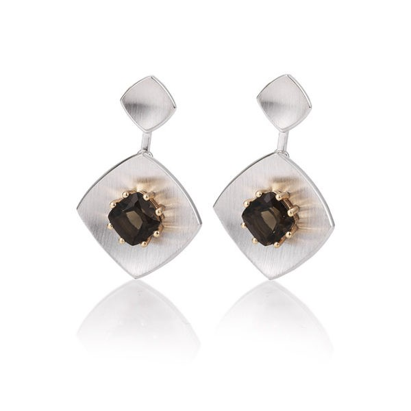 Silver earrings with smoky quartz Code: 12020300