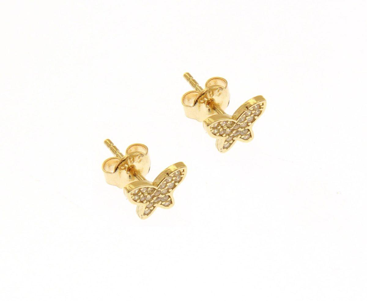Kullast kõrvarõngad tsirkoonidega Kood: 210269