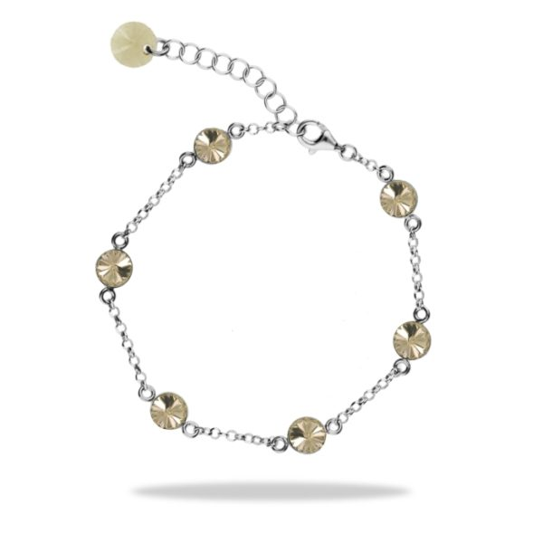 Silver hand chain with Swarovski® crystals Code: BROLO1122SS29GS