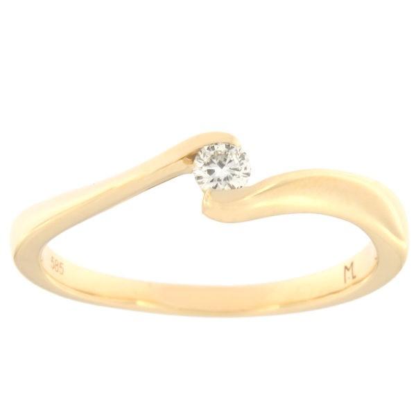 Kullast sõrmus teemantiga 0,09 ct. Kood: 141ak