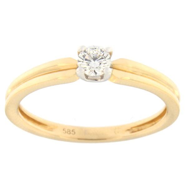 Kullast sõrmus teemantiga 0,17 ct. Kood: 146al