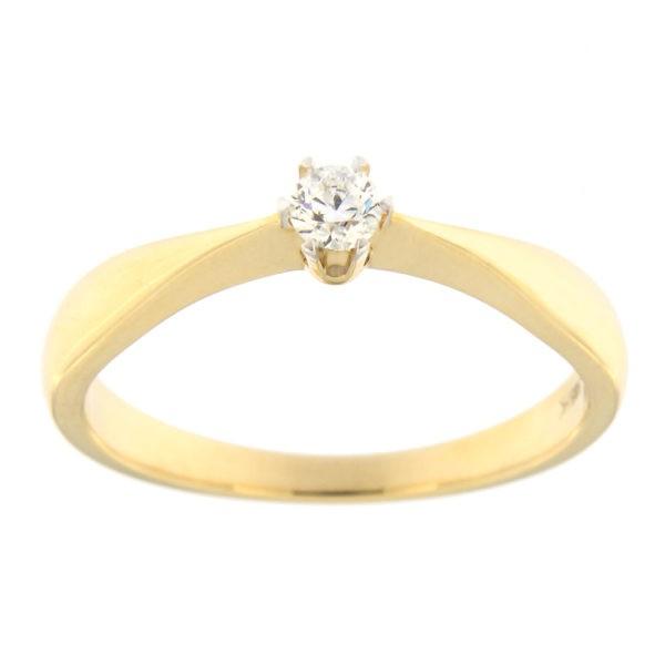 Kullast sõrmus teemantiga 0,10 ct. Kood: 32ha
