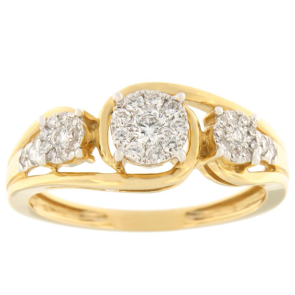 Kullast sõrmus teemantidega 0,33 ct. Kood: 46hk