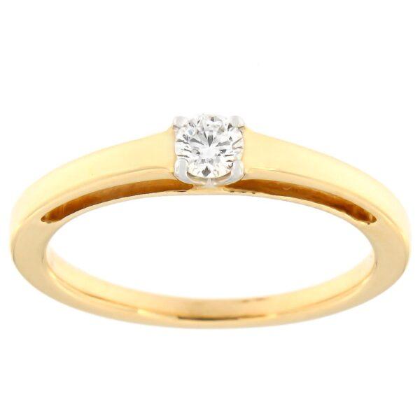 Kullast sõrmus teemantiga 0,14 ct. Kood: 80ax