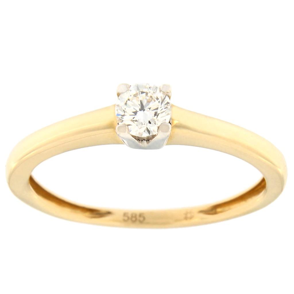 Kullast sõrmus teemantiga 0,24 ct. Kood: 93af