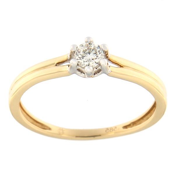 Kullast sõrmus teemantiga 0,19 ct. Kood: 108af