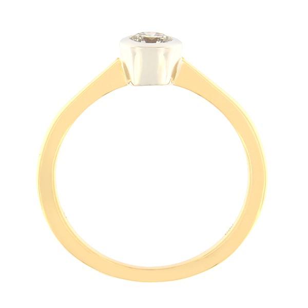 Kullast sõrmus teemantiga 0,18 ct. Kood: 132an külgvaade