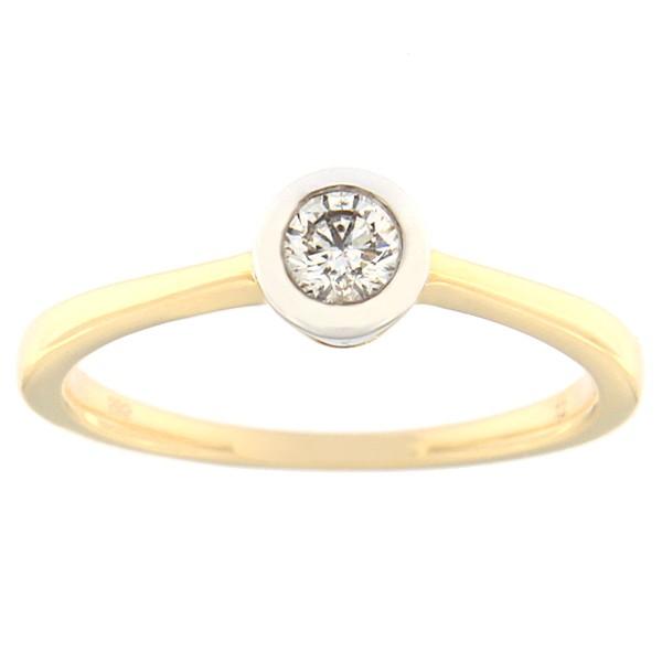 Kullast sõrmus teemantiga 0,18 ct. Kood: 132an
