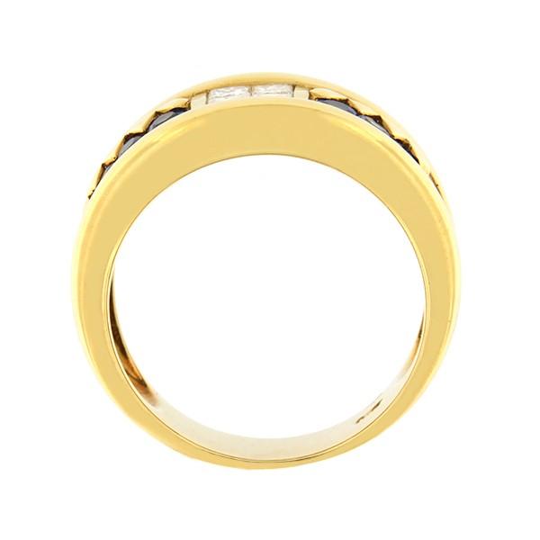 Kullast sõrmus teemantide ja safiiridega 0,40 ct. Kood: 19da külg