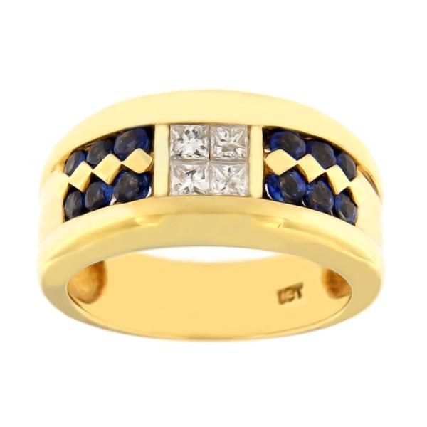 Kullast sõrmus teemantide ja safiiridega 0,40 ct. Kood: 19da