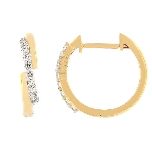 Kullast kõrvarõngad teemantidega 0,15 ct. Kood: 22ak