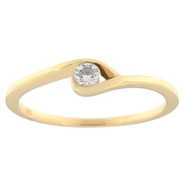 Kullast sõrmus teemantiga 0,09 ct. Kood: 68ae