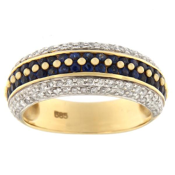 Kullast sõrmus teemandite ja safiiridega Kood: 68sc