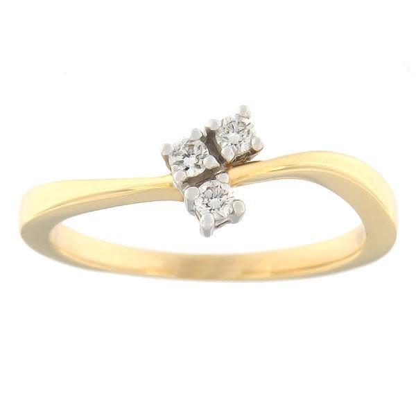 Kullast sõrmus teemantidega 0,10 ct. Kood: 75ax