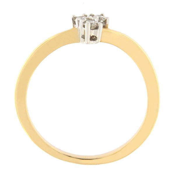 Kullast sõrmus teemantidega 0,10 ct. Kood: 75ax külg
