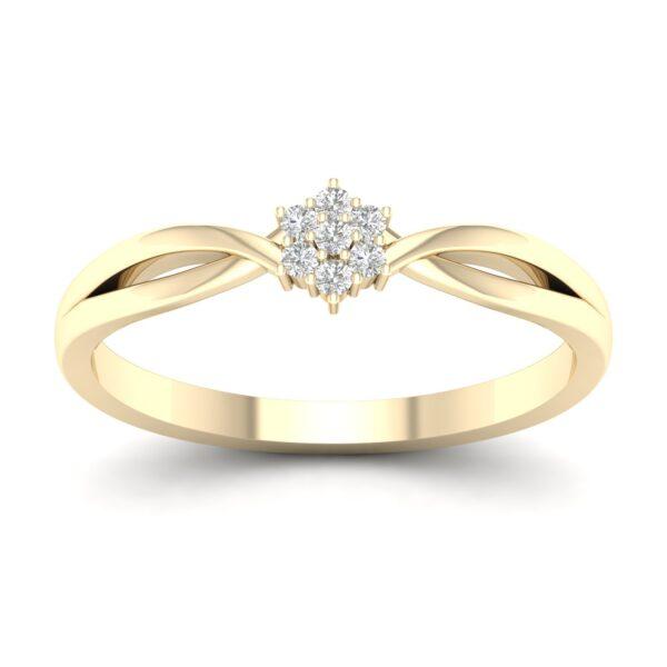 Kullast sõrmus teemantidega 0,08 ct. Kood: 44hc