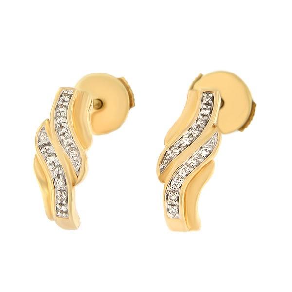 Kullast kõrvarõngad teemantidega 0,06 ct. Kood: 127ag