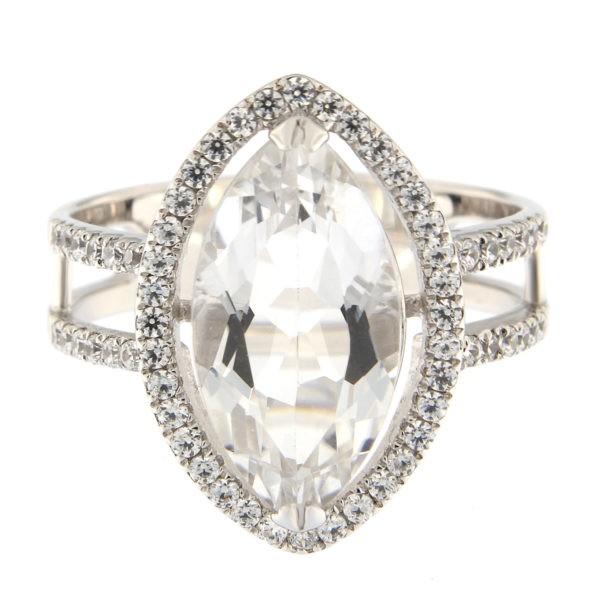 Hõbedast sõrmus valge kvartsiga Kood: 18-024518LR