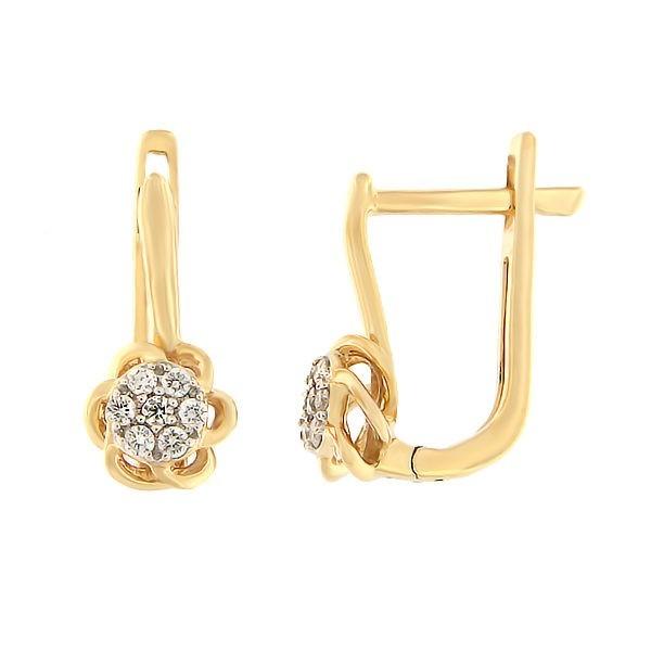 Kullast kõrvarõngad teemantidega 0,10 ct. Kood: 37ak