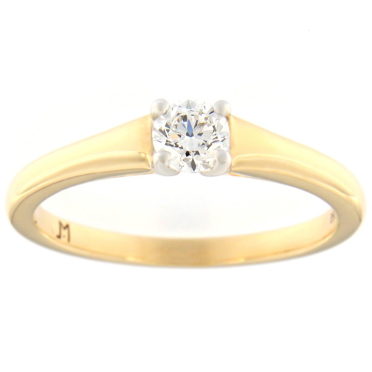 Kullast sõrmus teemantiga 0,30 ct. Kood: 100at