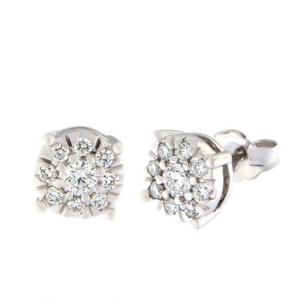 Kullast kõrvarõngad teemantidega 0,40 ct. Kood: 12at