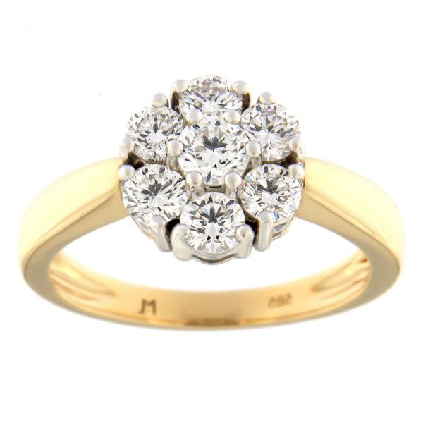 Kullast sõrmus teemantidega 0,98 ct. Kood: 49at